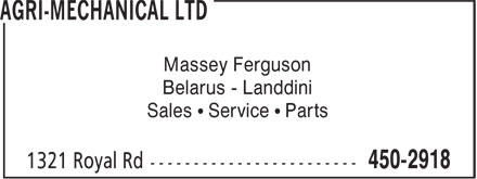 Agri-Mechanical Ltd (506-450-2918) - Display Ad - Massey Ferguson Belarus - Landdini Sales ¹ Service ¹ Parts