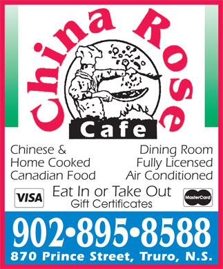 China Rose Cafe (902-895-8588) - Display Ad - 9028958588 Gift Certificates