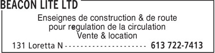 Beacon Lite Ltd (613-699-0774) - Annonce illustrée - Enseignes de construction & de route pour régulation de la circulation Vente & location