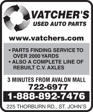 Vatcher's Used Auto Parts (1-855-334-7290) - Display Ad