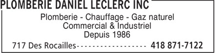 Plomberie Daniel Leclerc Inc (418-871-7122) - Display Ad