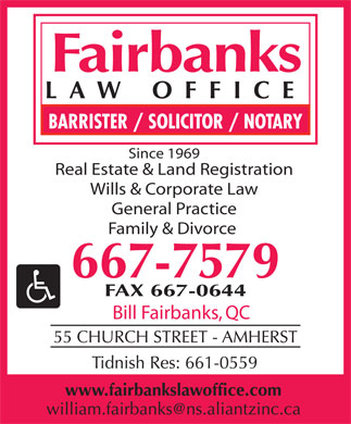 Fairbanks Law Office (902-667-7579) - Display Ad