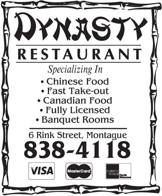 Dynasty Restaurant (902-838-4118) - Display Ad - 902-838-4118 902-838-4118