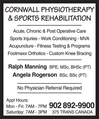 Cornwall Physiotherapy & Sports Rehabilitation (902-892-9900) - Annonce illustrée