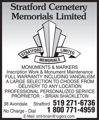 Stratford Memorials Limited (519-271-6736) - Display Ad