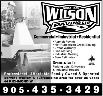 Wilson Paving Ltd (905-435-3429) - Display Ad