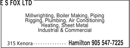 E S Fox Ltd (905-547-7225) - Display Ad