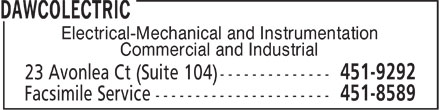 Dawcolectric (506-451-9292) - Display Ad - Electrical-Mechanical and Instrumentation Commercial and Industrial
