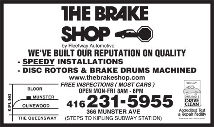 The Brake Shop (416-231-5955) - Display Ad - www.thebrakeshop.com