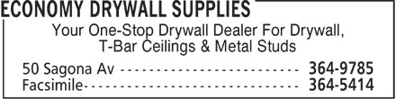 Economy Drywall Supplies (709-364-9785) - Display Ad - Your One-Stop Drywall Dealer For Drywall, T-Bar Ceilings & Metal Studs  Your One-Stop Drywall Dealer For Drywall, T-Bar Ceilings & Metal Studs