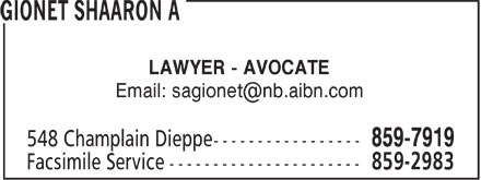 Gionet Shaaron A (506-859-7919) - Display Ad - LAWYER - AVOCATE Email: sagionet@nb.aibn.com