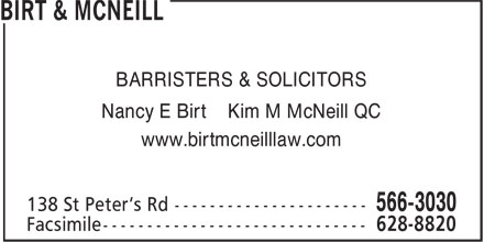 Birt & McNeill (902-566-3030) - Display Ad - BARRISTERS & SOLICITORS Nancy E Birt Kim M McNeill QC www.birtmcneilllaw.com