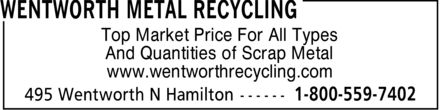 Wentworth Metal Recycling (905-527-1707) - Display Ad