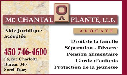 plante chantal avocate 56 rue charlotte sorel tracy qc. Black Bedroom Furniture Sets. Home Design Ideas