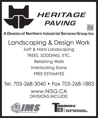 Heritage Paving & Landscaping (705-268-3040) - Display Ad - 705-268-1883 705-268-1883