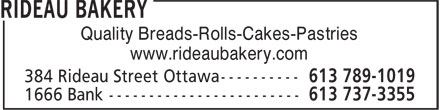 Rideau Bakery (613-789-1019) - Display Ad - Quality Breads-Rolls-Cakes-Pastries www.rideaubakery.com