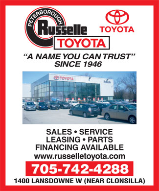 Russelle Toyota (705-742-4288) - Display Ad - SALES   SERVICE LEASING   PARTS FINANCING AVAILABLE 705-742-4288  SALES   SERVICE LEASING   PARTS FINANCING AVAILABLE 705-742-4288