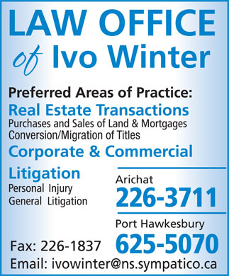 Winter Ivo (902-226-3711) - Display Ad