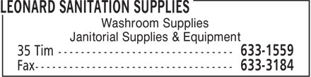 Leonard Sanitation Supplies (506-633-1559) - Display Ad - Washroom Supplies Janitorial Supplies & Equipment  Washroom Supplies Janitorial Supplies & Equipment