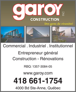 Garoy Construction Inc (418-661-1754) - Annonce illustr&eacute;e