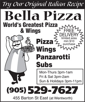 Bella Pizza (905-529-7627) - Display Ad