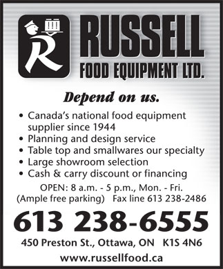 Russell Food Equipment Ltd (613-238-6555) - Annonce illustr&eacute;e