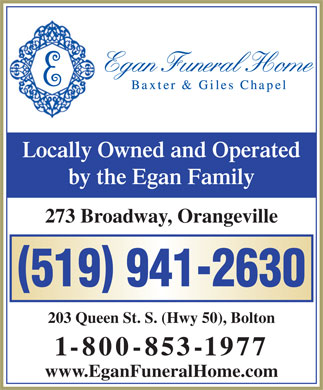 Egan Funeral Home Baxter &amp; Giles Chapel (519-941-2630) - Annonce illustr&eacute;e