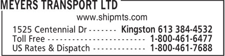 Meyers Transport Ltd (613-384-4532) - Display Ad - www.shipmts.com  www.shipmts.com