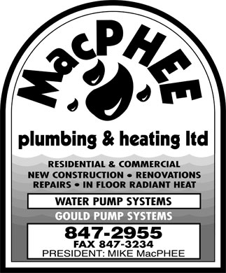 MacPhee Plumbing & Heating Ltd (506-847-2955) - Display Ad