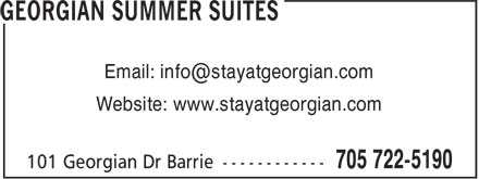 Georgian Summer Suites (705-722-5190) - Display Ad - Website: www.stayatgeorgian.com