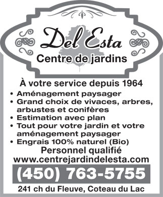 Centre De Jardin Del Esta (450-763-5755) - Annonce illustr&eacute;e