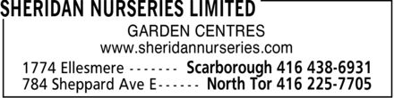 Sheridan Nurseries Limited (416-438-6931) - Annonce illustrée