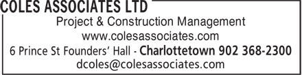 Coles Associates Ltd (902-368-2300) - Display Ad - 6 Prince St Founders' Hall - Project & Construction Management www.colesassociates.com 6 Prince St Founders' Hall - www.colesassociates.com Project & Construction Management