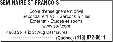 S&eacute;minaire St-Fran&ccedil;ois (418-872-0611) - Annonce illustr&eacute;e