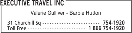 Executive Travel Inc (709-754-1920) - Display Ad - Valerie Gulliver - Barbie Hutton Valerie Gulliver - Barbie Hutton