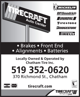 Tirecraft Auto Center (519-352-0620) - Annonce illustrée