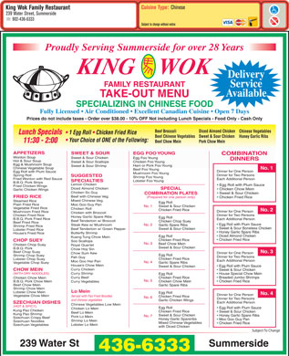 King Wok Family Restaurant (902-436-6333) - Menu