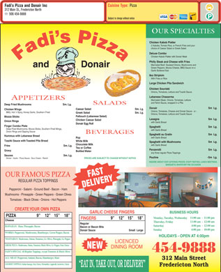 Fadi's Pizza And Donair Inc (506-454-9888) - Menu