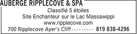 Le Riverain - Dining At The Ripplecove (819-838-4296) - Annonce illustrée======= - Classifié 5 étoiles - Site Enchanteur sur le Lac Massawippi - www.ripplecove.com
