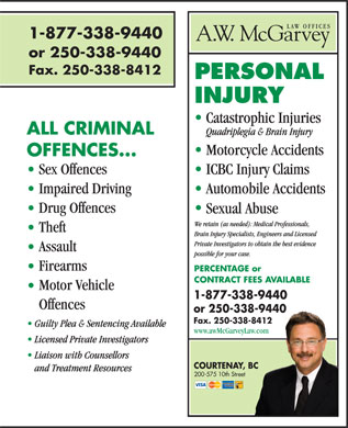 A W McGarvey Law Offices (250-338-9440) - Display Ad