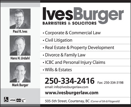 Ives Burger Barristers & Solicitors (250-334-2416) - Annonce illustrée