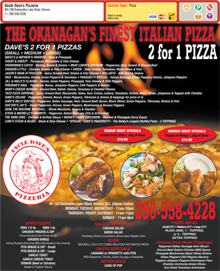 Uncle Dave's Pizzeria (250-558-4228) - Menu