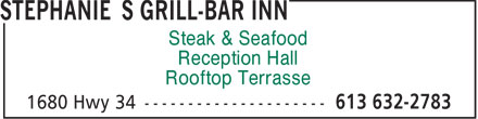 Stephanie's Grill-Bar Inn (1-855-250-6858) - Annonce illustrée - Steak & Seafood Reception Hall Rooftop Terrasse