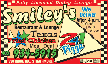 Smiley's Restaurant & Lounge (403-213-9126) - Annonce illustrée - W 403 W 403