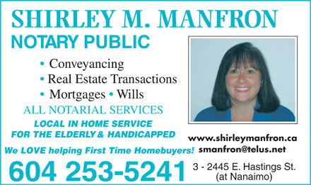 Manfron Shirley M (604-253-5241) - Display Ad