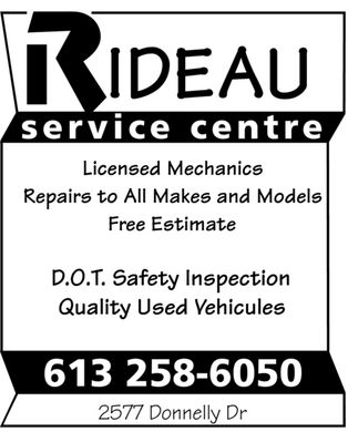 Rideau Service Centre (613-258-6050) - Annonce illustrée - IDEAU service centre Licensed Mechanics Repairs to All Makes and Models Free Estimate D.O.T. Safety Inspection Quality Used Vehicules 613 258-6050 2577 Donnelly Dr IDEAU service centre Licensed Mechanics Repairs to All Makes and Models Free Estimate D.O.T. Safety Inspection Quality Used Vehicules 613 258-6050 2577 Donnelly Dr