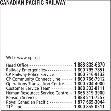Canadian Pacific Railway (1-888-333-6370) - Display Ad - Web: www.cpr.ca
