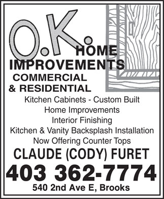 O K Home Improvements (403-362-7774) - Display Ad