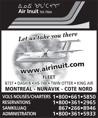 Air Inuit Ltd (867-266-8946) - Annonce illustrée