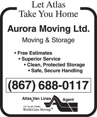 Aurora Moving Ltd (867-669-7188) - Display Ad - 688-0117